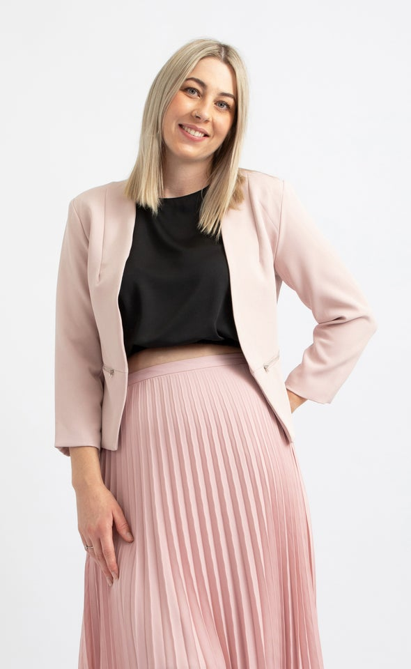 Zip Sleeve Tailored Blazer