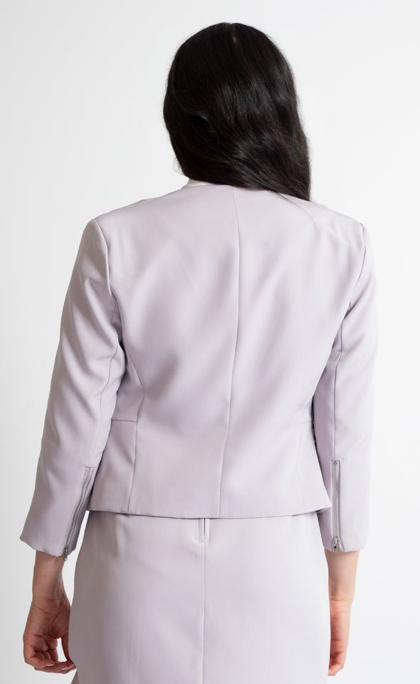 Zip Sleeve Tailored Blazer Lilac