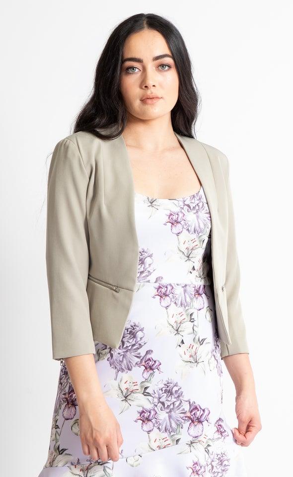 Zip Sleeve Tailored Blazer Sage