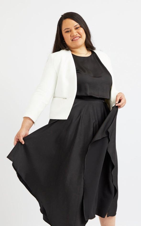 Zip Sleeve Tailored Blazer White